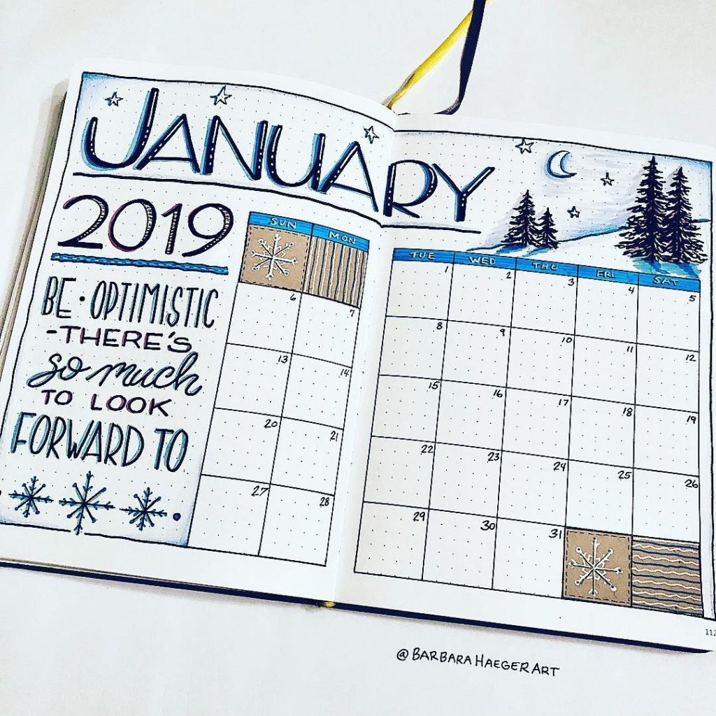 bullet journal layouts for january